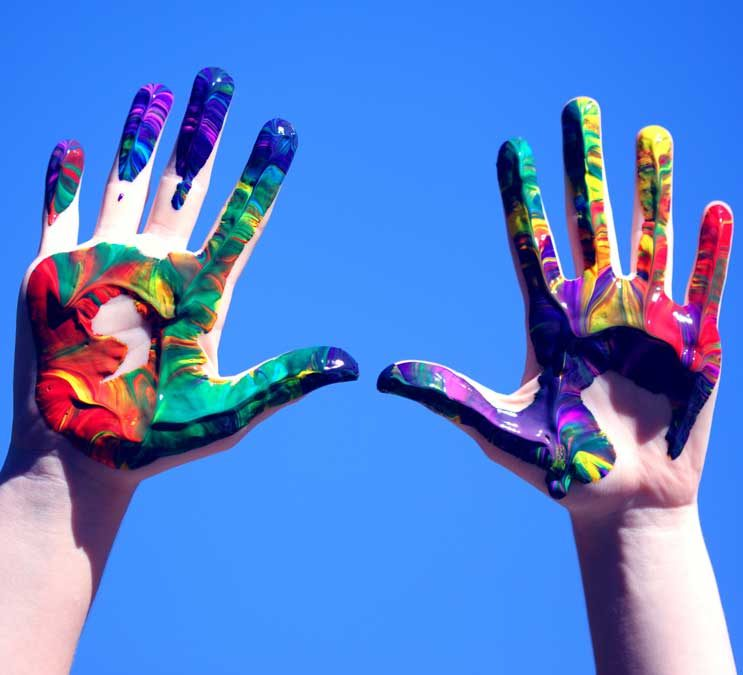 Image of multi-coloured hands
