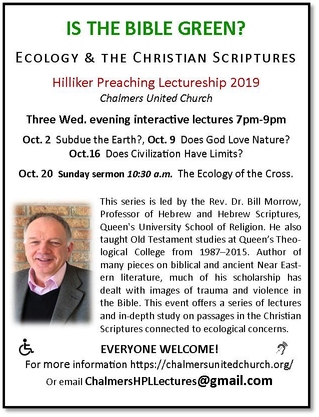 Poster or bulletin announcement with details of October 2019 Hiliker Preaching Lectureship