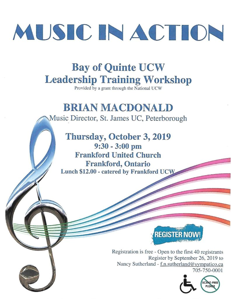 Poster for Music in Action workshop on October 3
