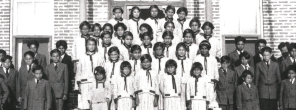 Students at residential school, part of the exhibit at the Peterborough Museum and Archives