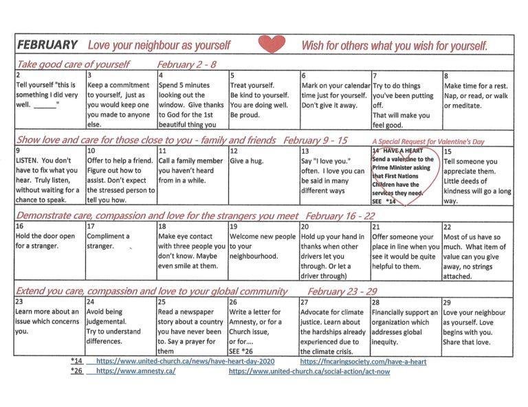 February Calendar of Love